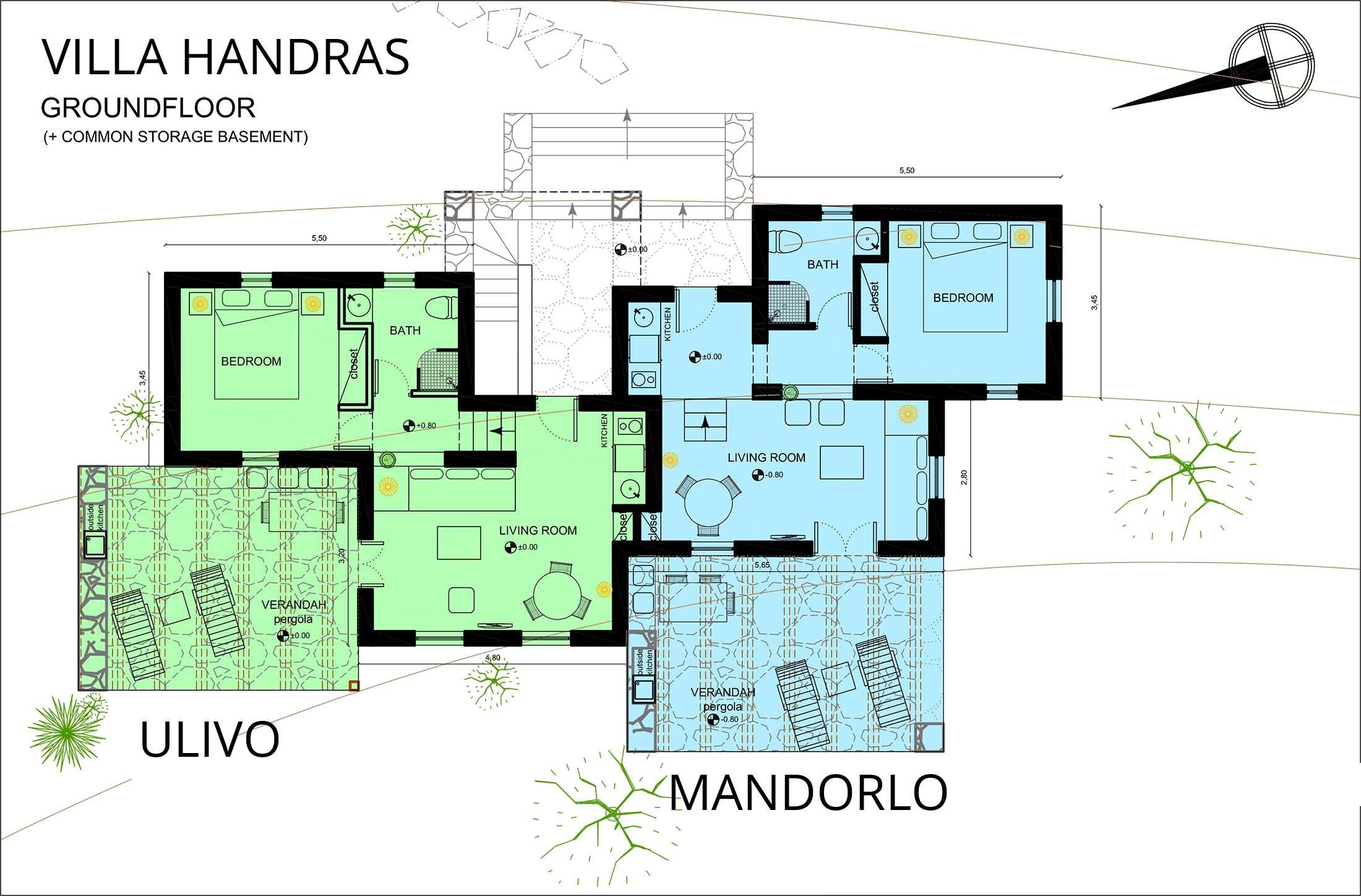 Villa Handras Apartments Architect Drawing Aegiali Amorgos